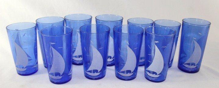 Hazel Atlas set of 11 Sailboat Blue Drinking Glasses