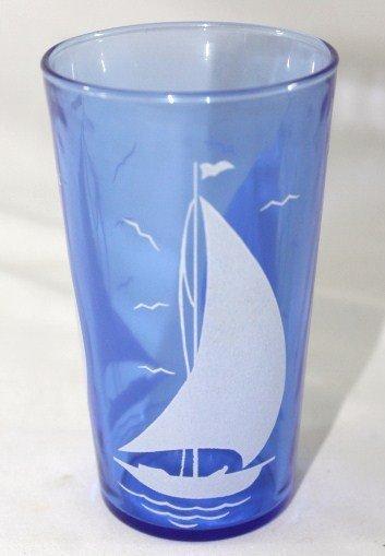 Hazel Atlas set of 11 Sailboat Blue Drinking Glasses - 2