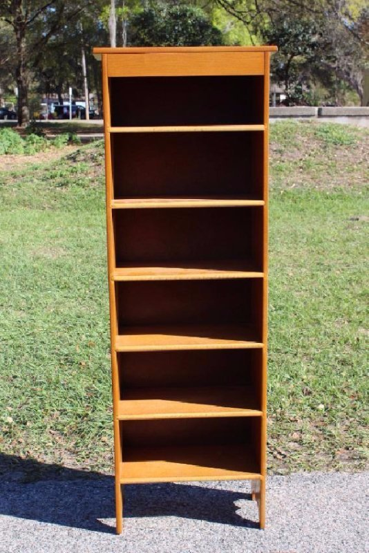 Tall Wood Shelved Bookcase