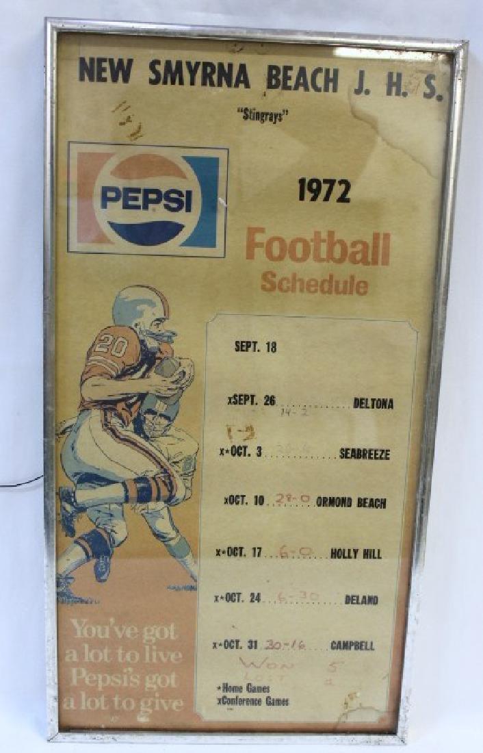 New Smyrna Beach Framed Pepsi Football Schedule