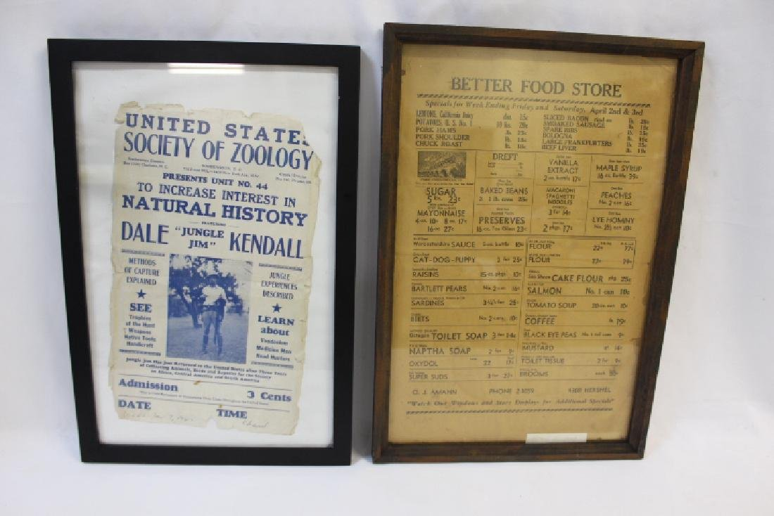 Framed  Society of Zoology / Food Store Adver