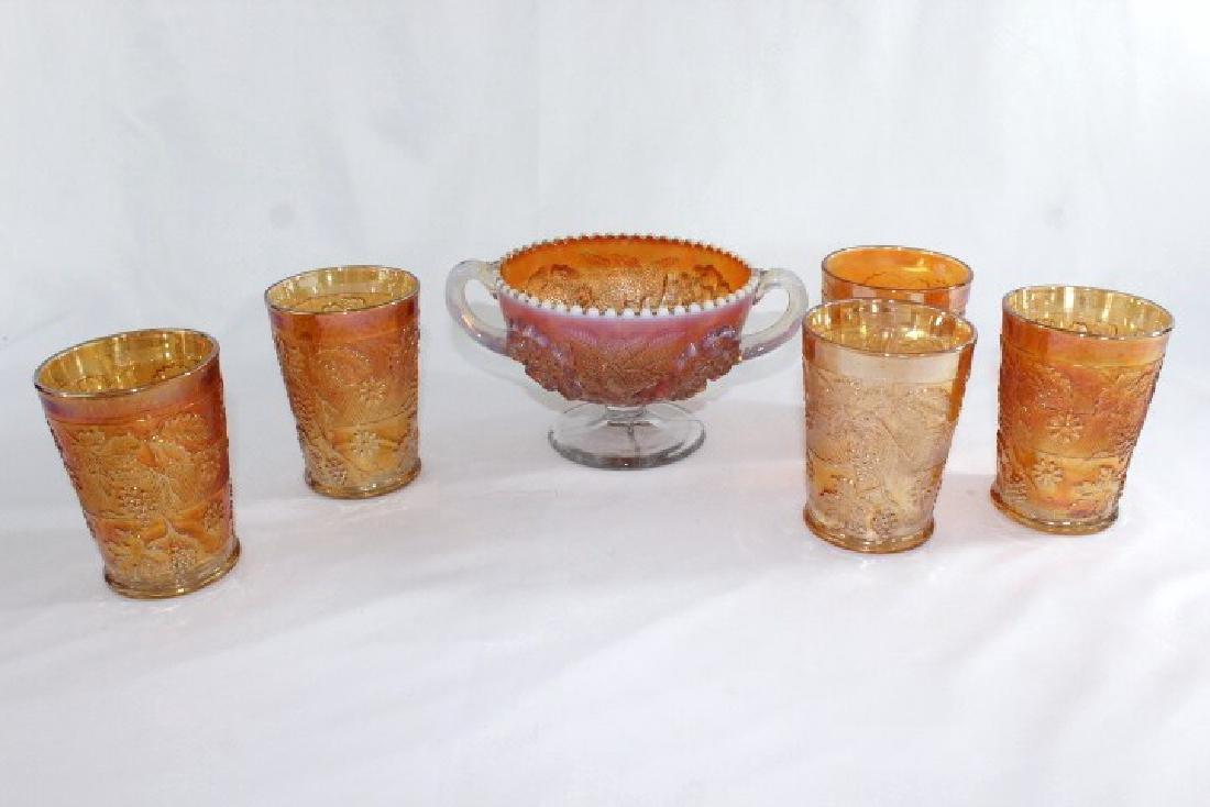 5 Carnival Glasses - 1 Bowl