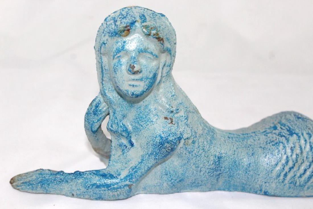 Blue Cast Iron Mermaid Reclining Door Stop - 2