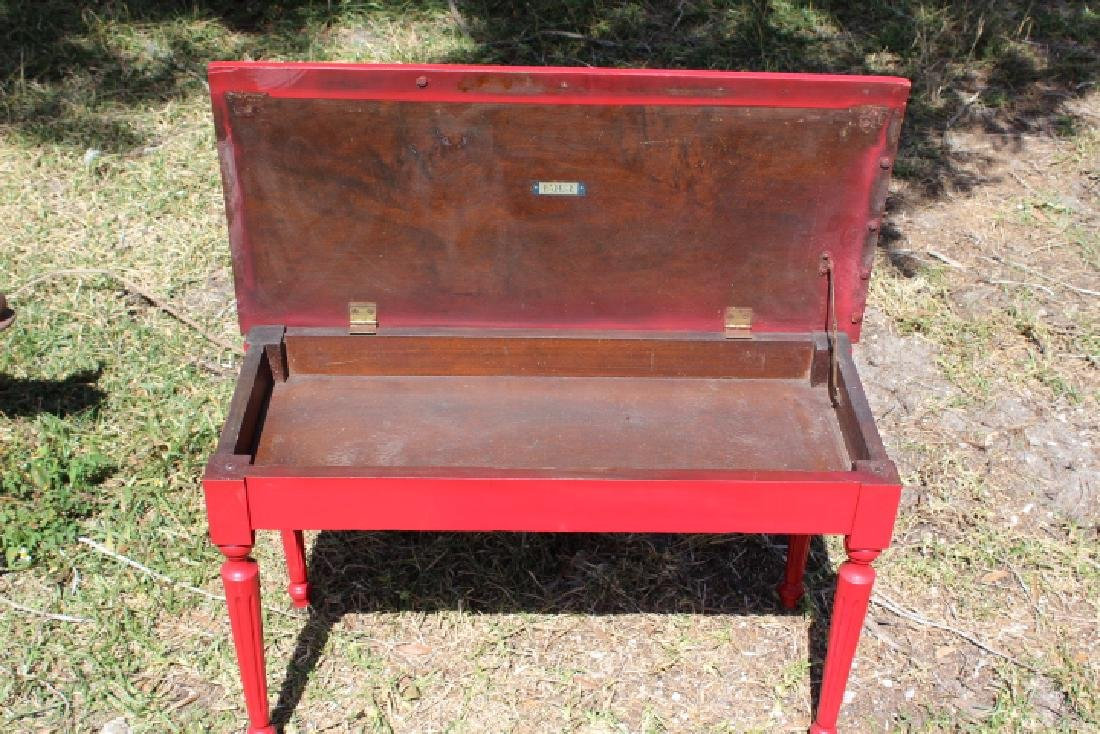 Charles Parker Company Red Piano Style Bench - 3