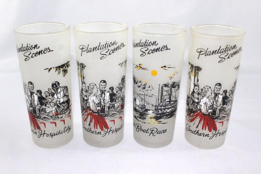 Platation Scenes Frosted Drinking Glasses
