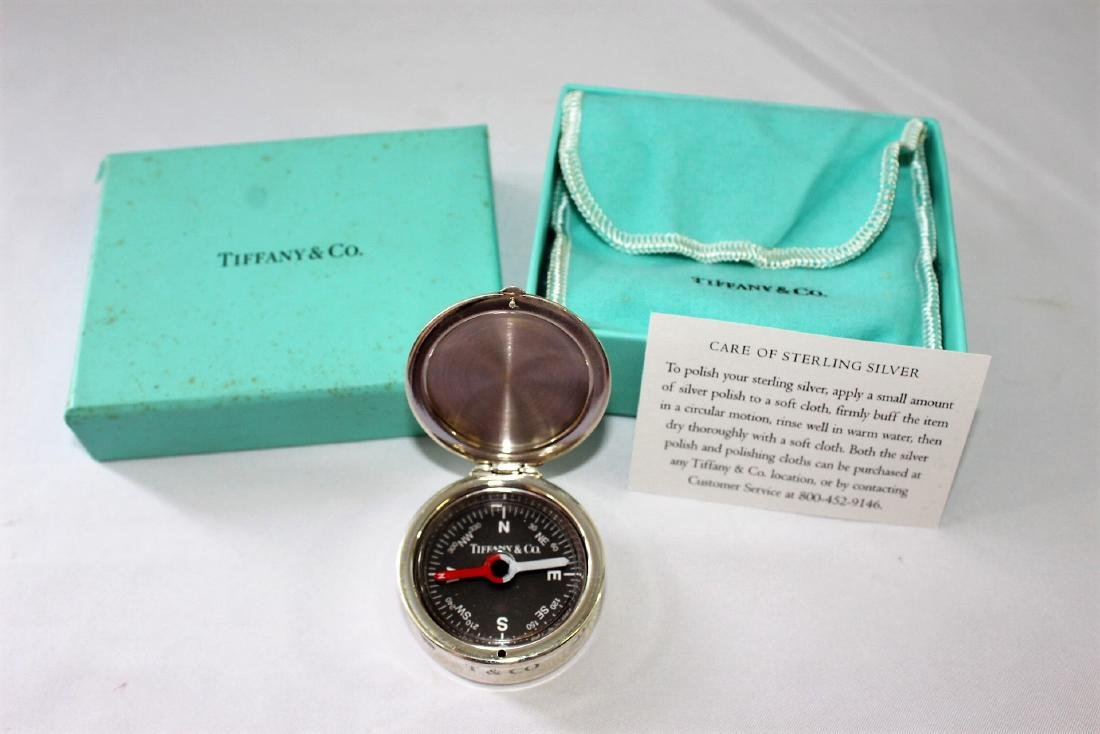 Tiffany & Co. Sterling Silver Compass with Box & Case