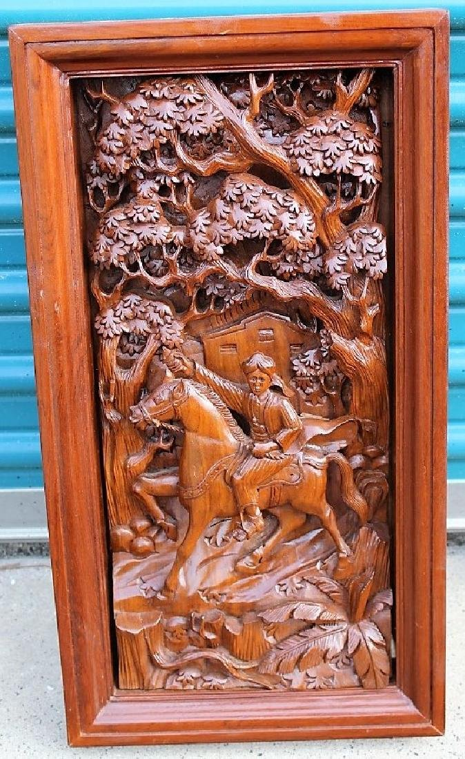 Hand Carved Wood Relief Asian Soldier on Horse