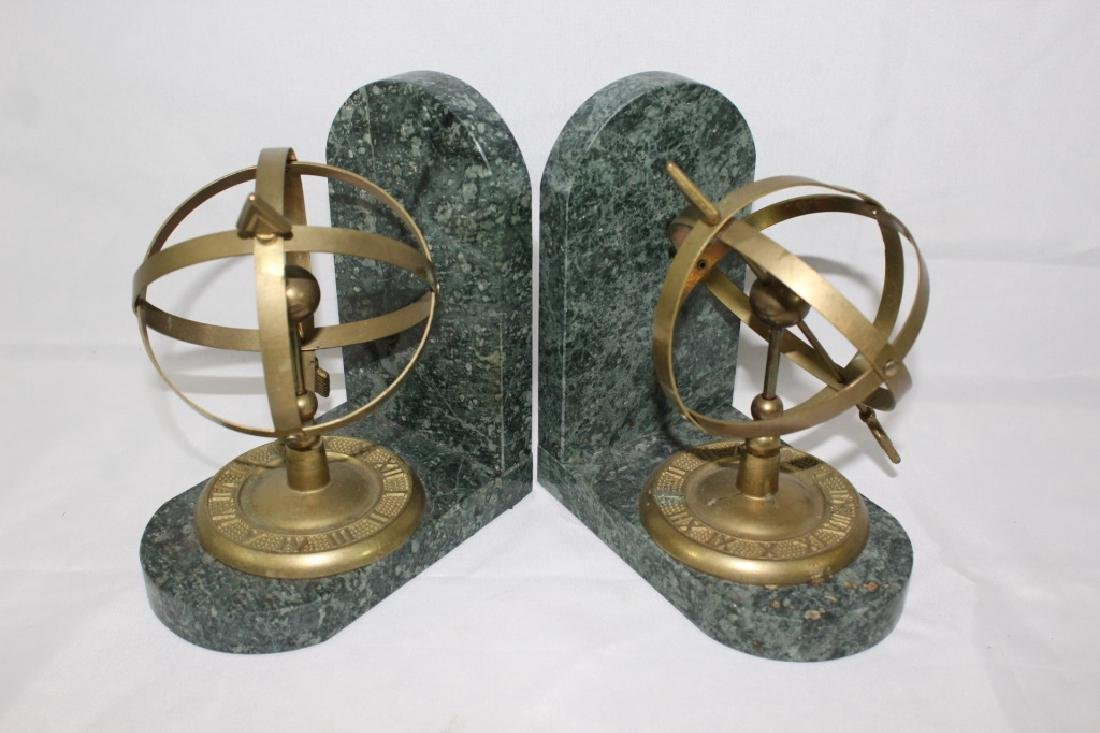 Armillary Sphere Brass & Marble Bookends