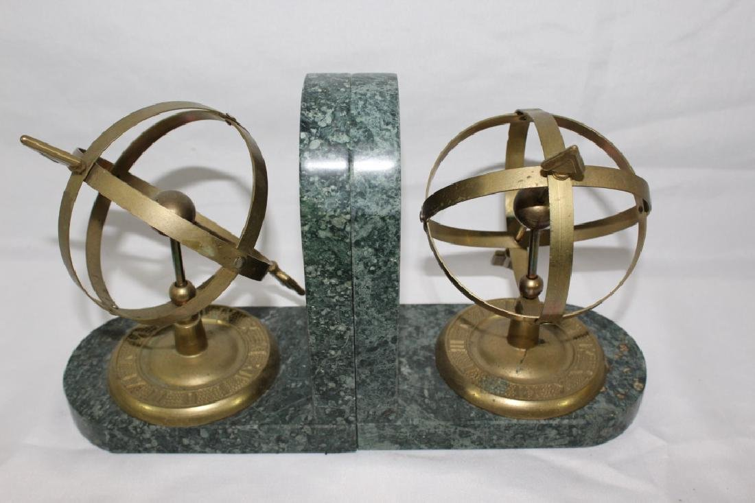 Armillary Sphere Brass & Marble Bookends - 2