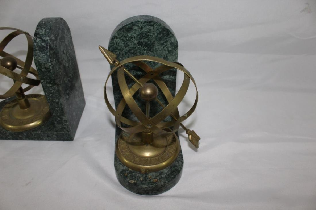 Armillary Sphere Brass & Marble Bookends - 3