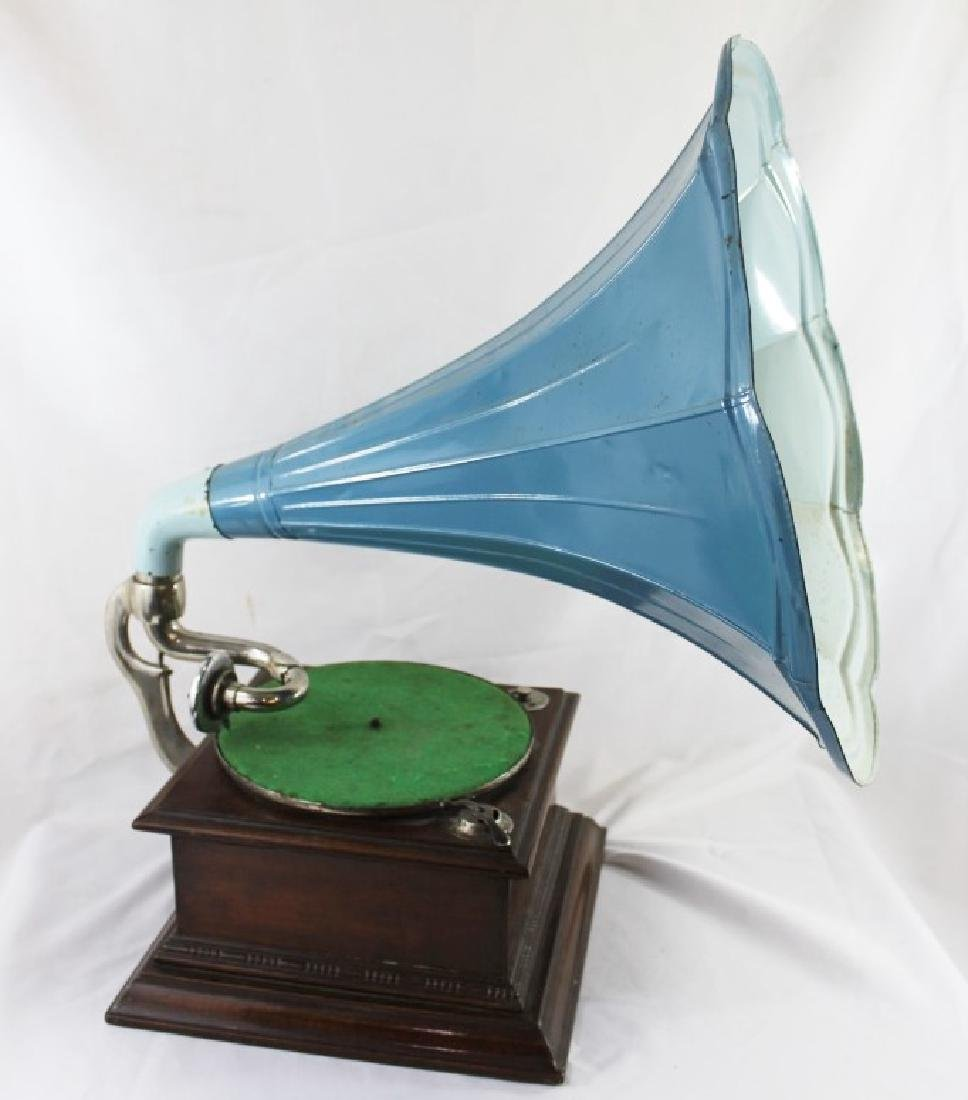 Antique Phonograph with Blue Horn