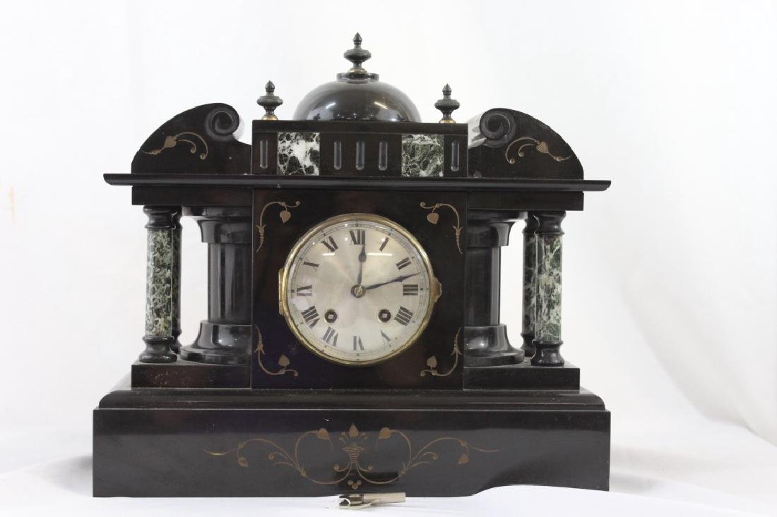 Ansonia Black Slate Marble Mantle Clock