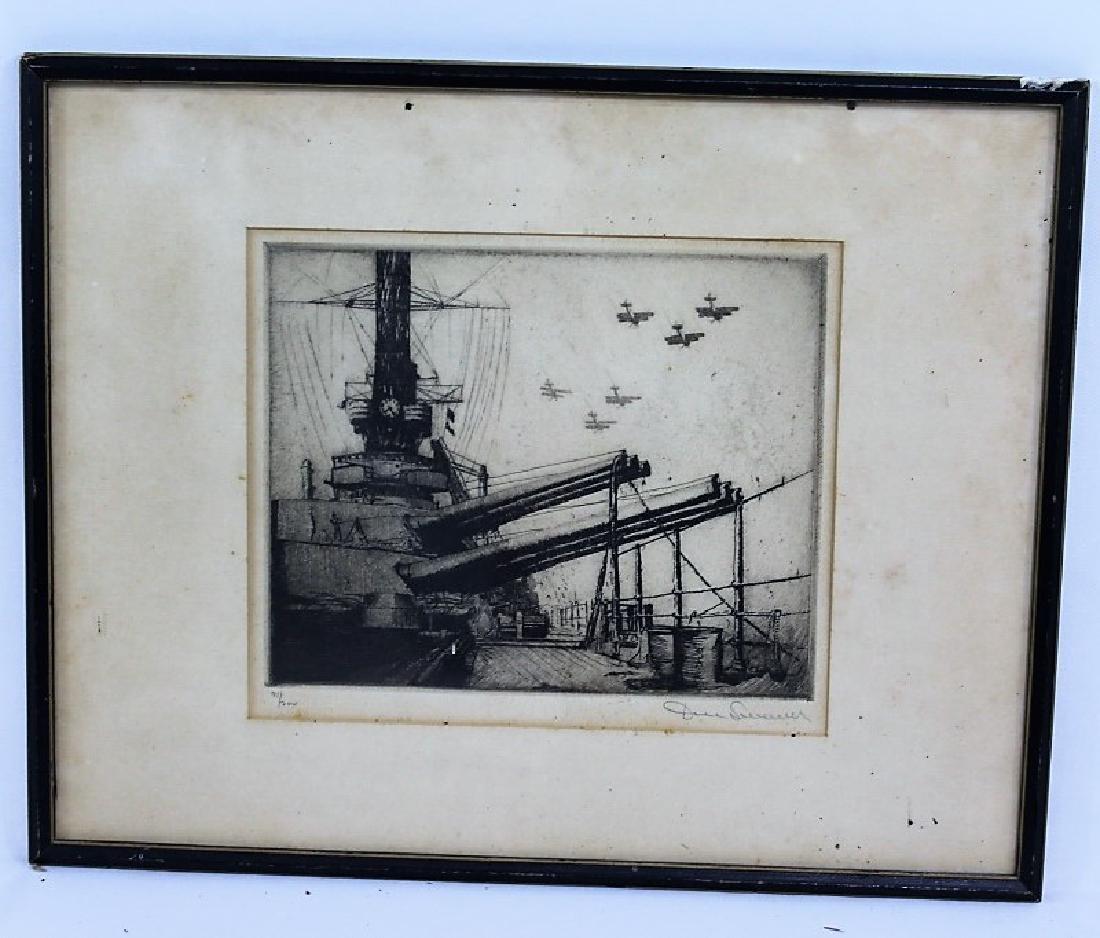 James Swann Etching - Naval Scene