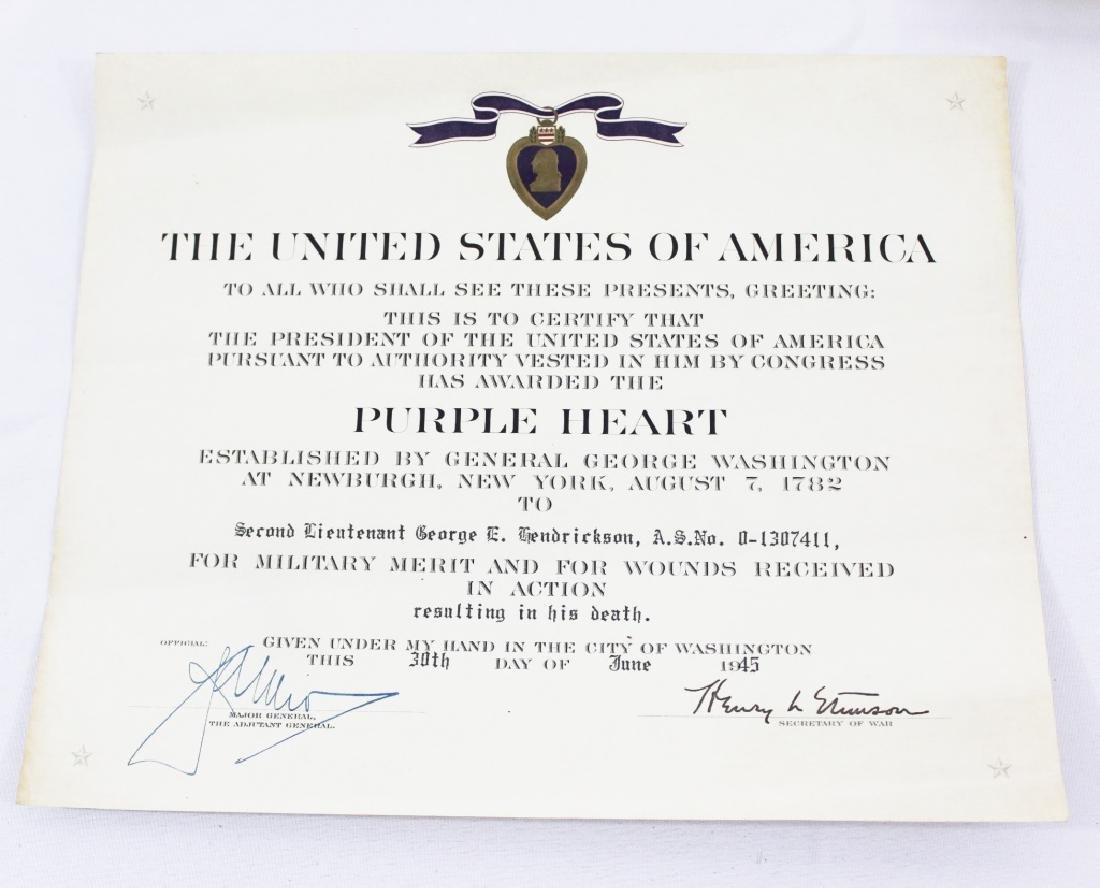 Purple Heart Certificate with Letter and Correction - 2