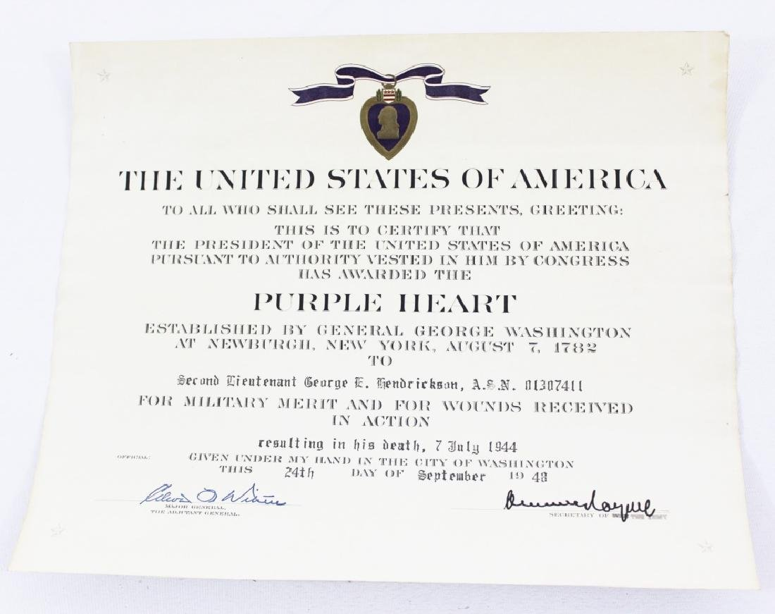 Purple Heart Certificate with Letter and Correction - 3