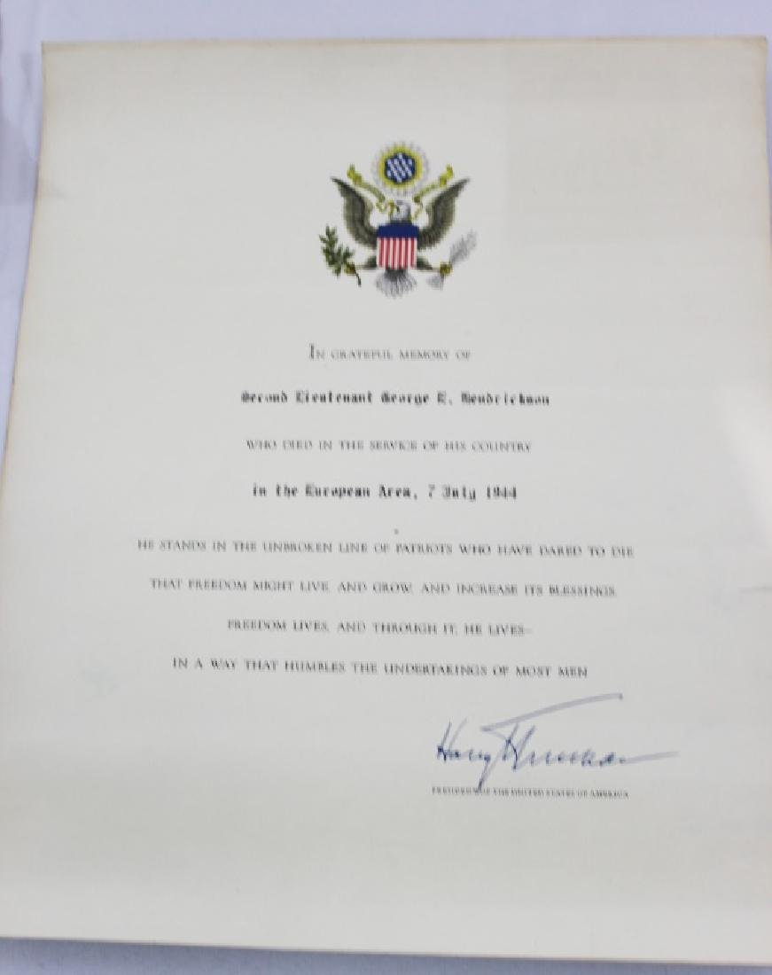 Purple Heart Certificate with Letter and Correction - 5