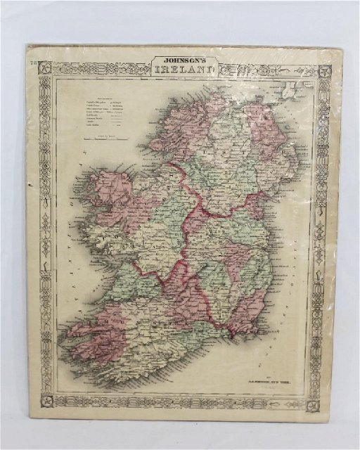 Map Of Ireland To New York.1866 Map Of Ireland A J Johnson New York