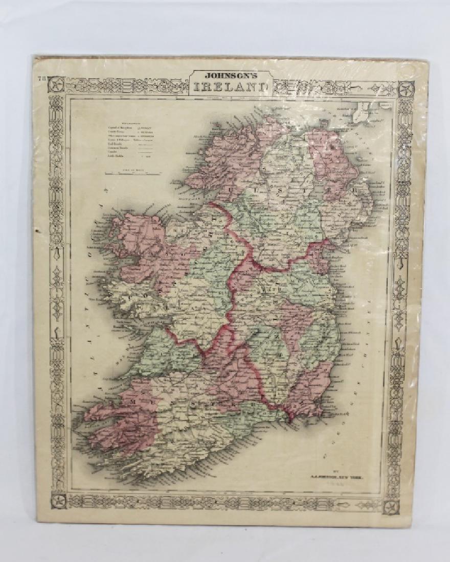 1866 Map of Ireland - A.J. Johnson New York