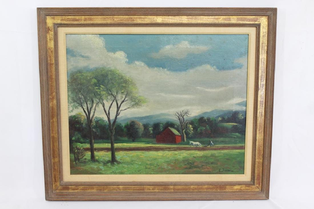 Ernest Fiene Signed Oil on Canvas - Mountain Farm Scene