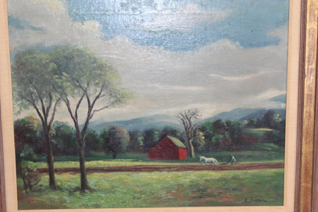 Ernest Fiene Signed Oil on Canvas - Mountain Farm Scene - 2