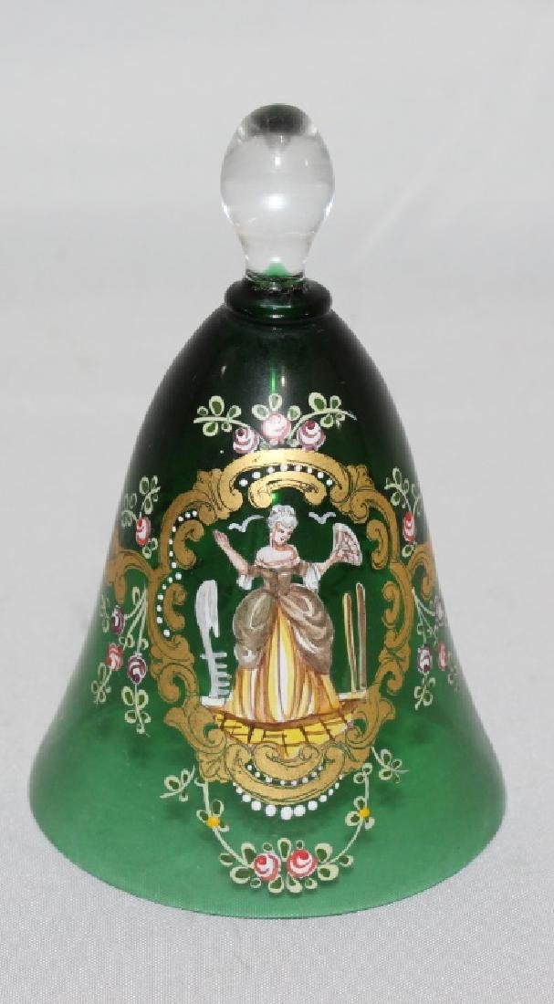 Beautiful Hand Enameld Green Bell with Victorian Lady