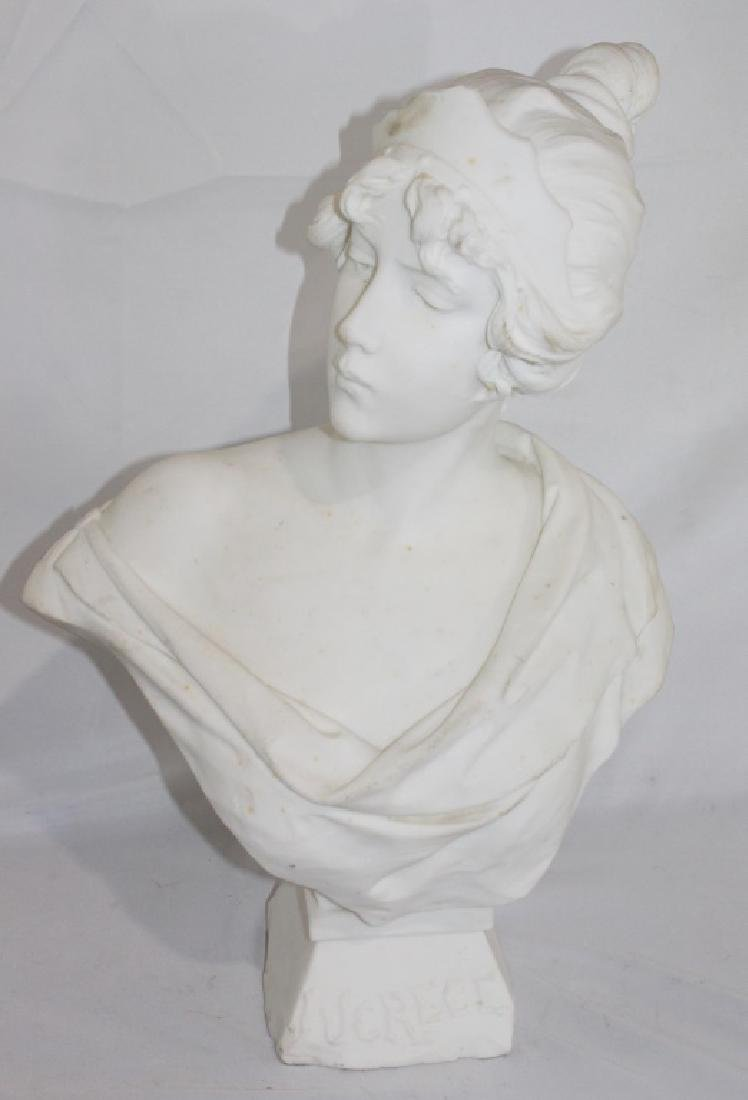 A. Piazza Carrara Signed Marble Bust of Lady - Lucrece