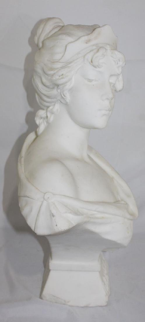 A. Piazza Carrara Signed Marble Bust of Lady - Lucrece - 4