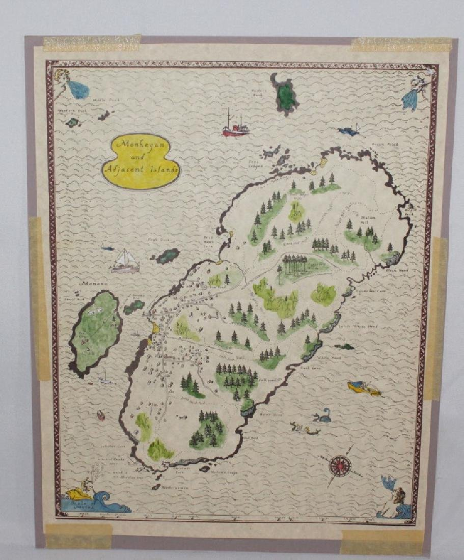 Hand colored Map - Monhegan & Adjacent Islands