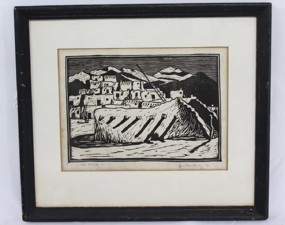 Leo Courtney (1890-1940) Pencil Signed Woodblock Pring
