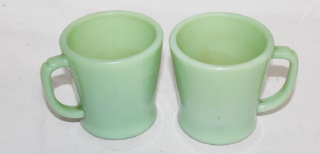 Pair of Vintage Green Fire King Coffee Mugs
