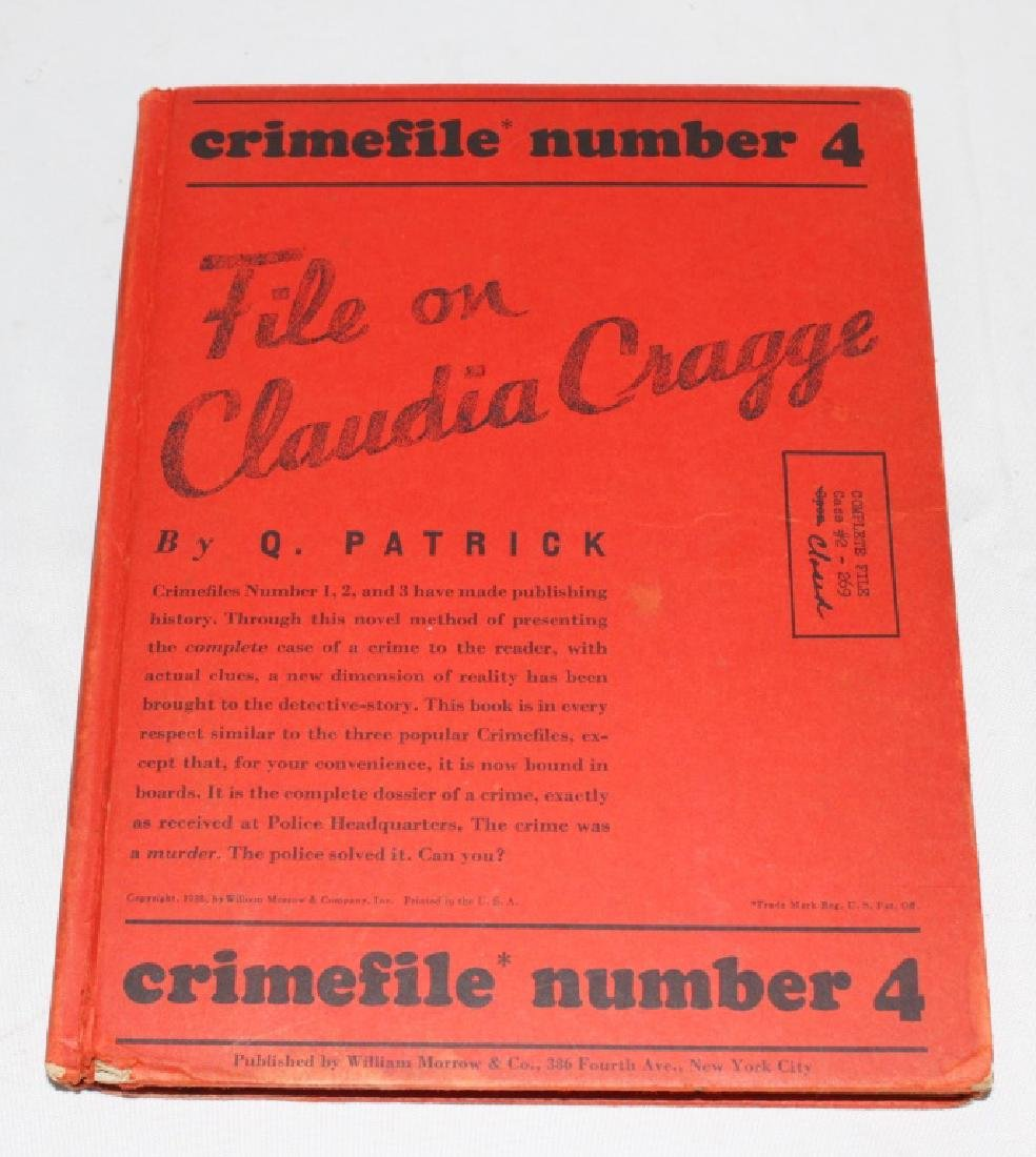 1938 - File on Claudia Cragg - Crime File Number 4 -