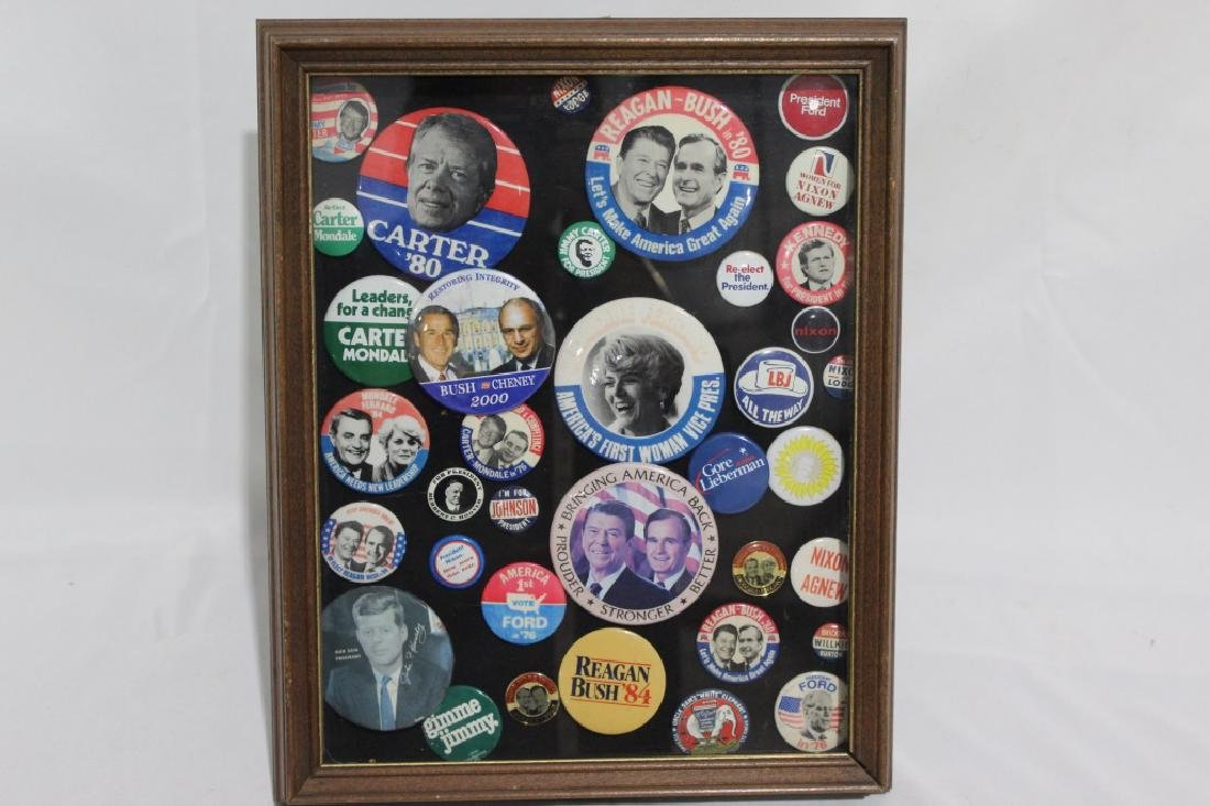 Lot of Political Pinbacks/ Buttons in Shadow Box