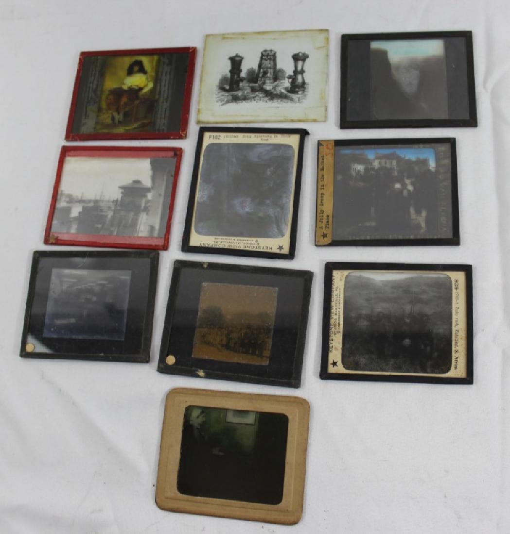 Lot of 10 Glass Slides - Hand Tinted Glass Slides -