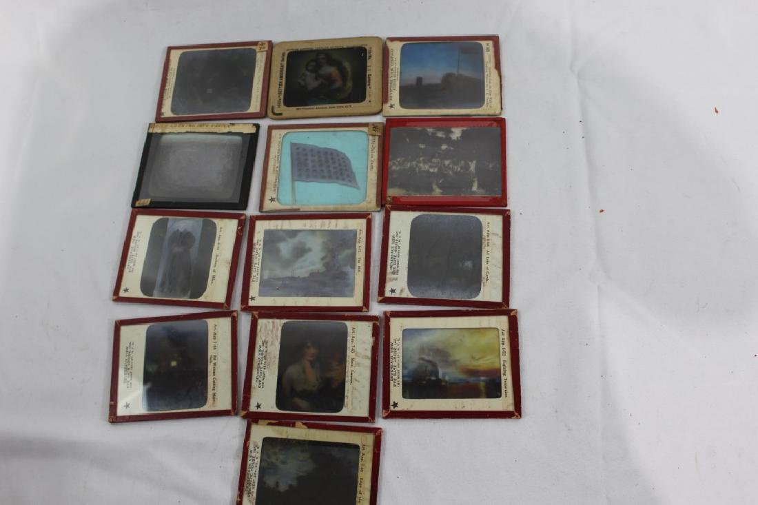 Lot of 13 Antiuqe Glass Slides