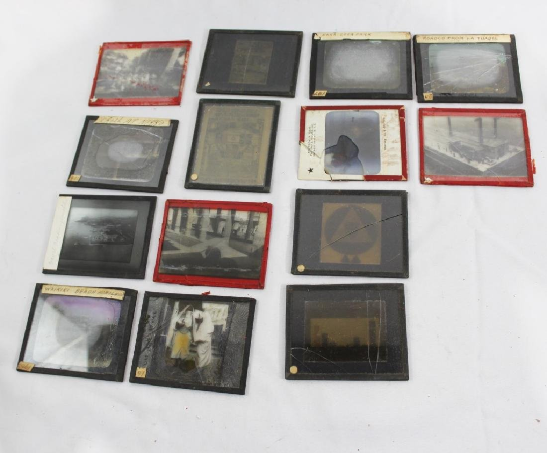 Lot of 14 Antique Glass Slides - as is