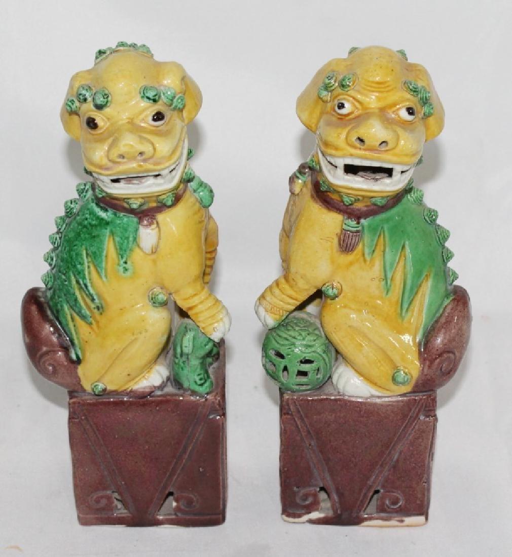 Pair of Ceramic Yellow and Green Foo Dogs
