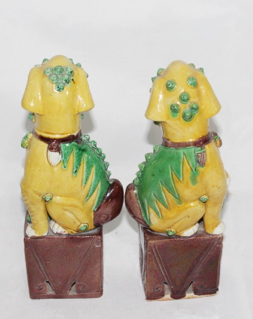 Pair of Ceramic Yellow and Green Foo Dogs - 2