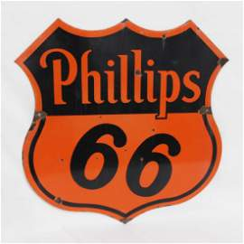 Phillips 66 Porcelain Shield Curb Double Sided Sign