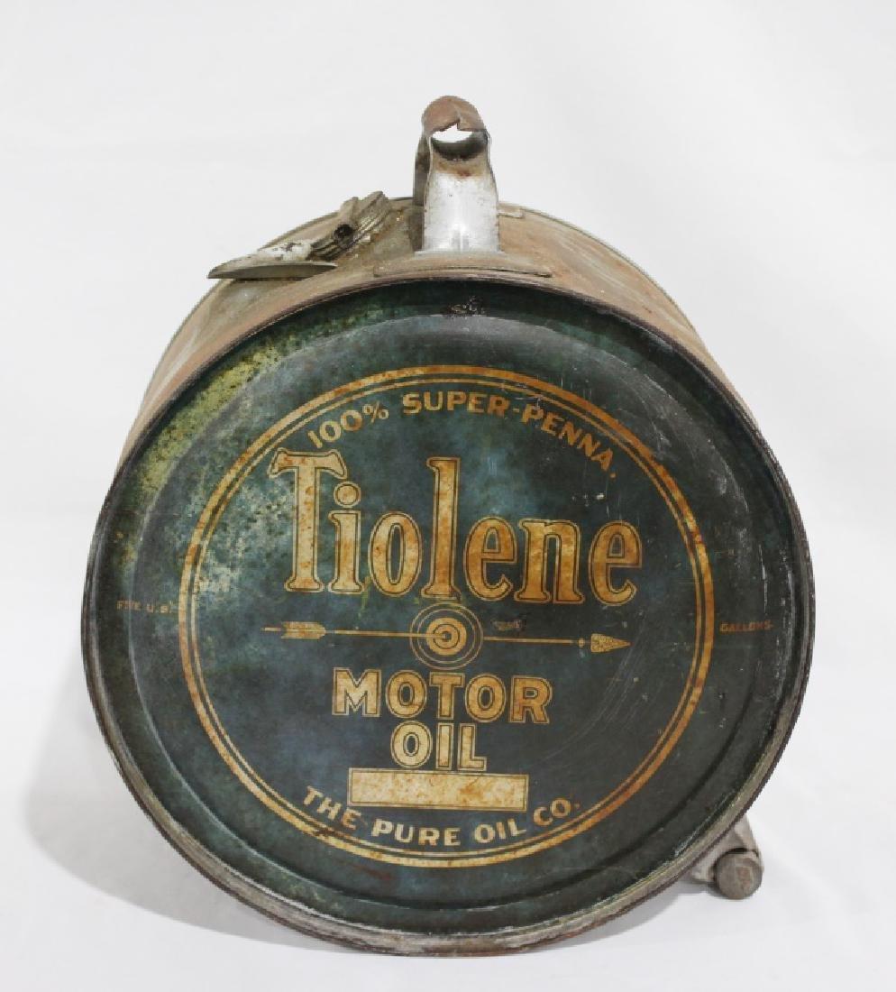 Vintage 2-sided Tiolene Motor Oil - 5 Gallon Rocker Can