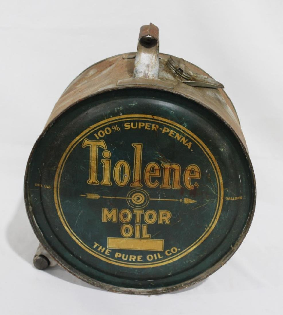 Vintage 2-sided Tiolene Motor Oil - 5 Gallon Rocker Can - 3