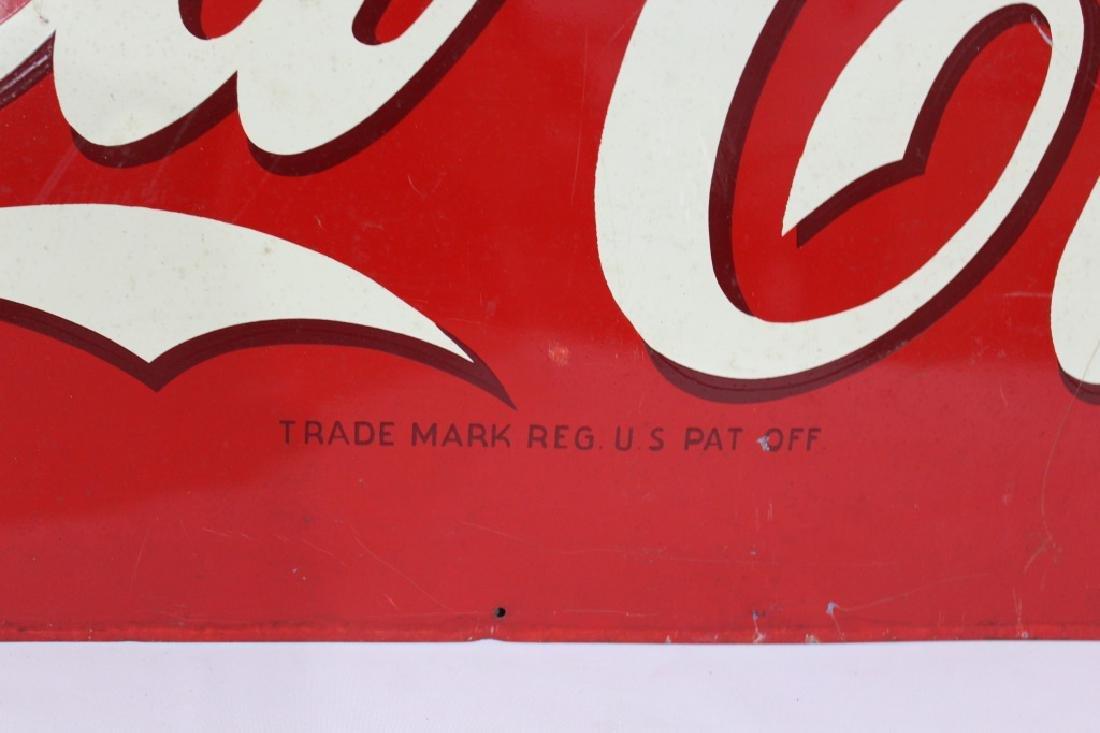 Large 1942 Tin Drink Coca-Cola Metal Sign - 3