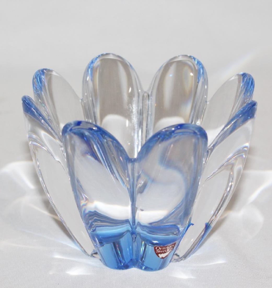 Blue Mayflower Orrefos Sweden Crystal Bowl Signed