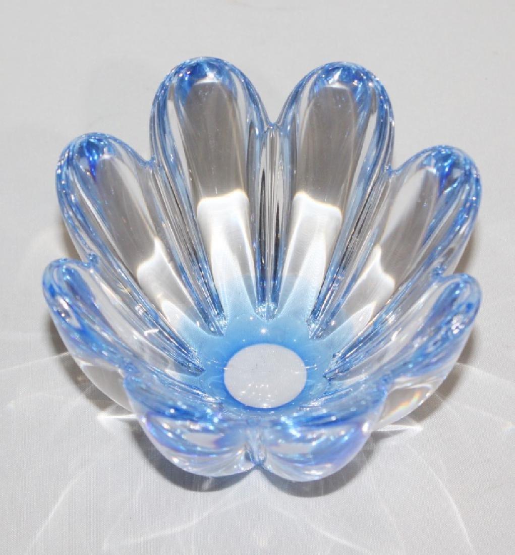 Blue Mayflower Orrefos Sweden Crystal Bowl Signed - 2