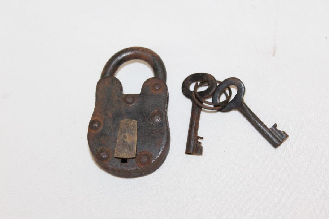 Nice Antique Metal Lock & Key - Working