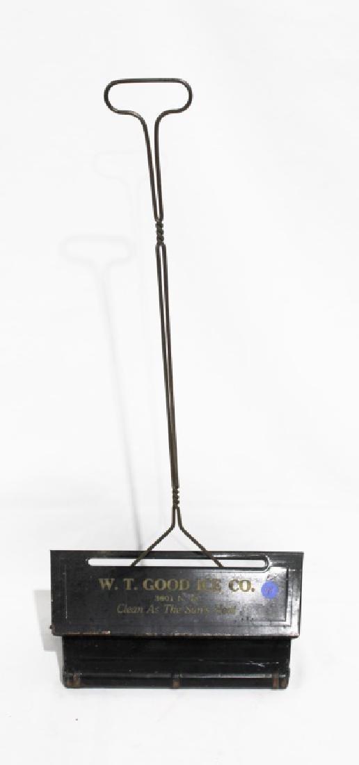 Early Metal Dustpan - W.T. Good Ice Co. Advertisement