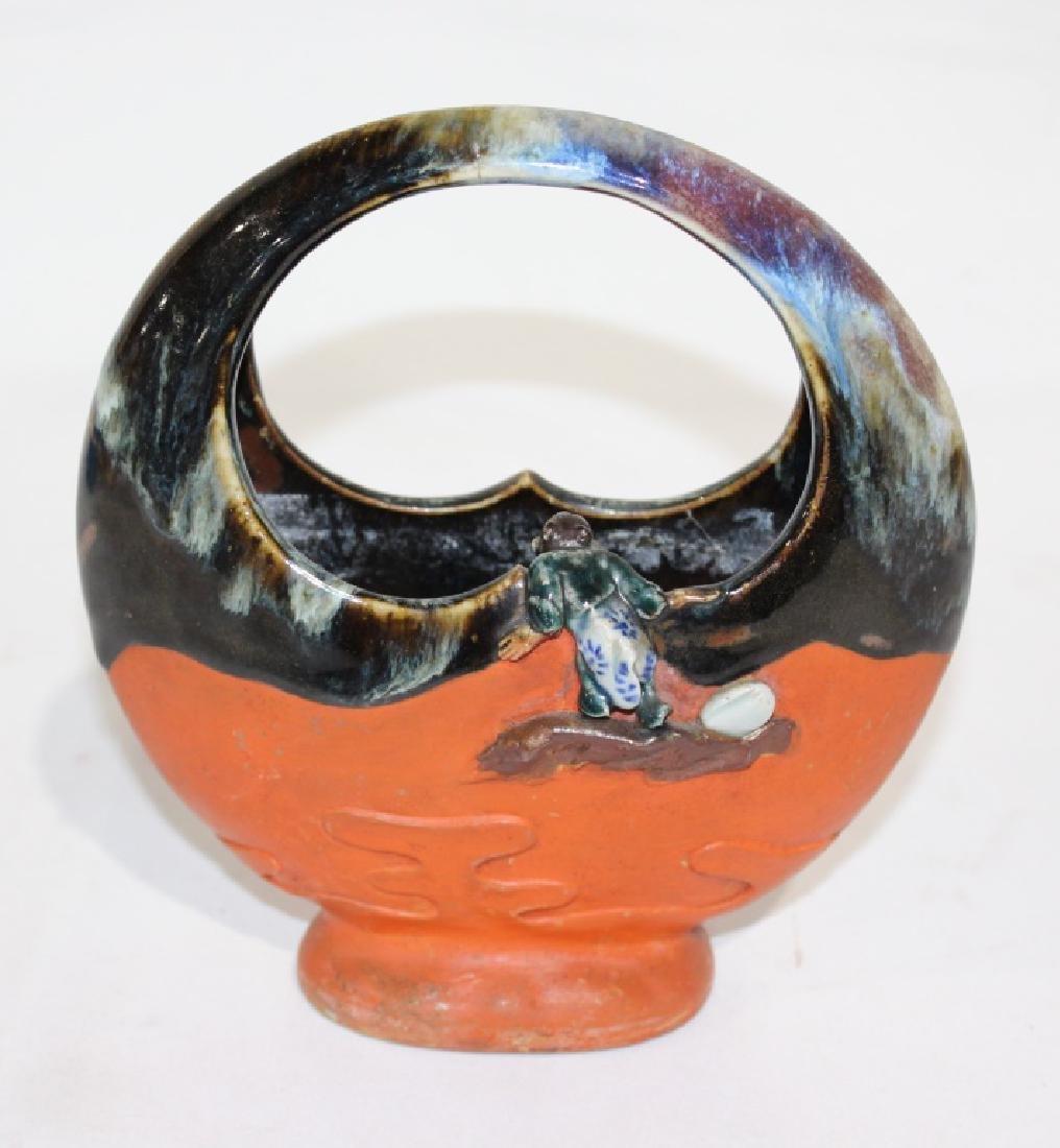 Sumida Gawa - Handled Vase with Boys - 3