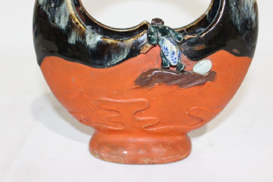 Sumida Gawa - Handled Vase with Boys - 4