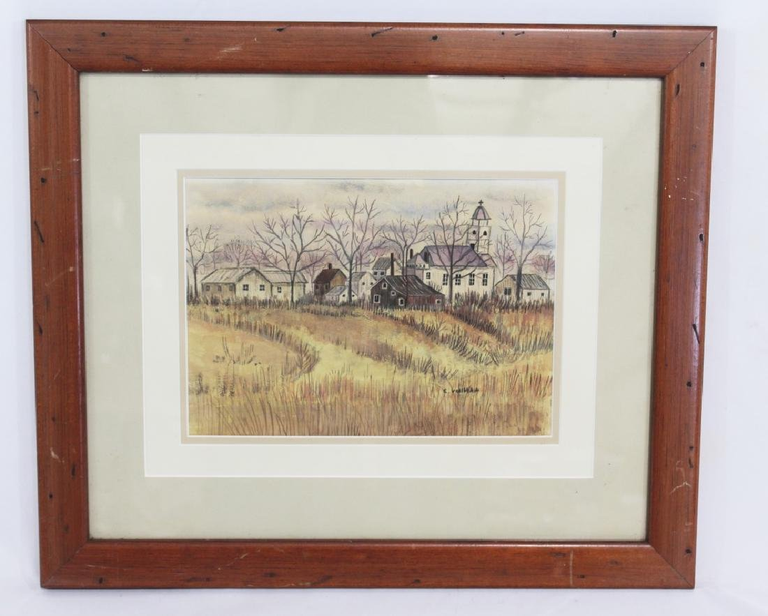 E Vollman Watercolor of Village - signed