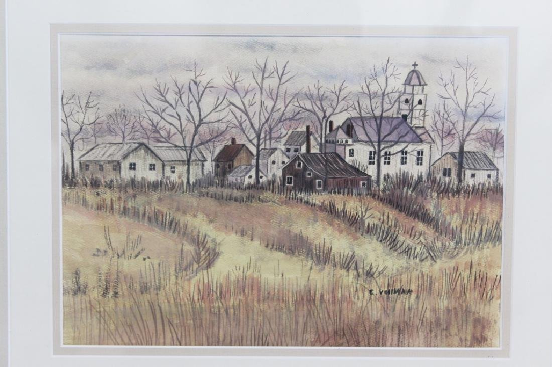 E Vollman Watercolor of Village - signed - 2