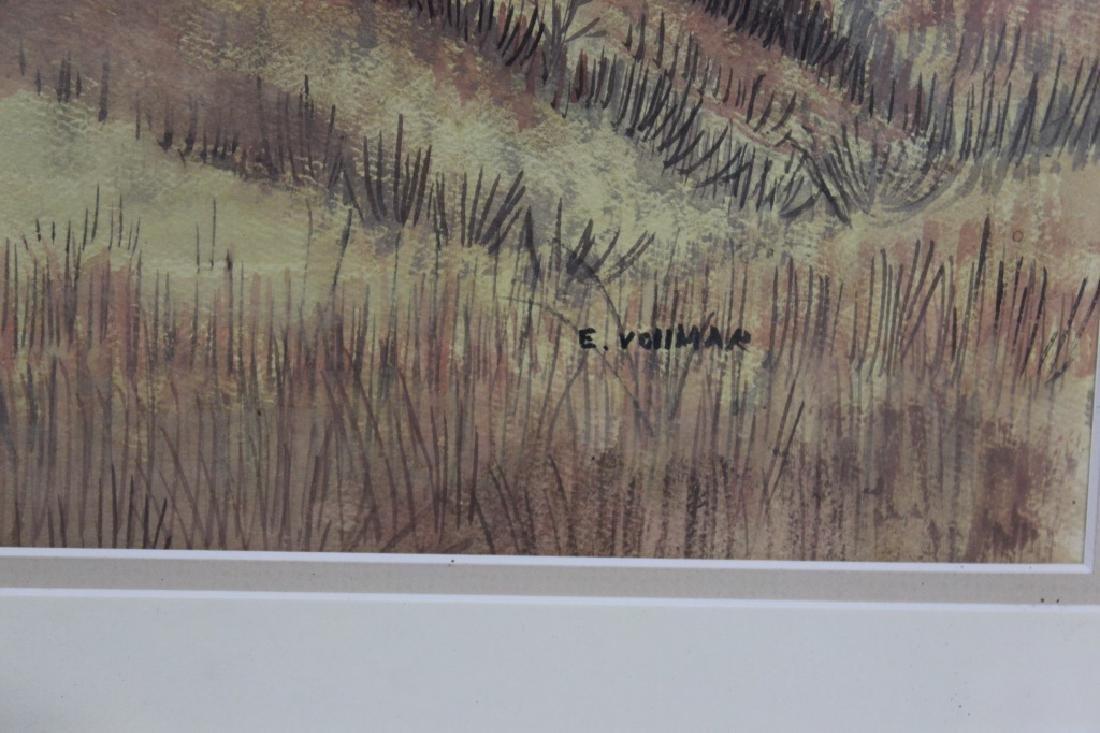 E Vollman Watercolor of Village - signed - 3
